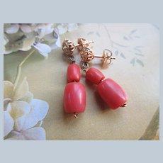 Vintage 10K Natural Coral Pierced Earrings