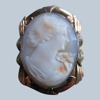Vintage Carved Shell Cameo Pin in Gold Fill