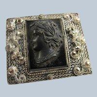 Vintage Czech Black Glass Cameo Beautiful Filigree