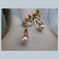 Vintage 18K Cultured Pearl Screw Back Earrings