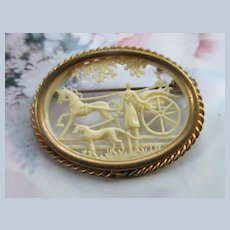 Vintage French Depose Cut Work Celluloid Cameo Pin