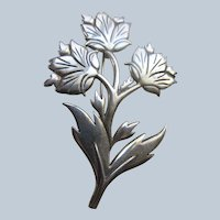 Vintage Sterling Flowers Pin , Forever Corsage For Your Lapel