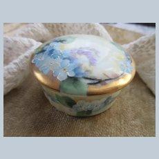 Antique Rosenthal Bavaria Hand Painted For Get Me Nots Powder Box - Porcelain Trinket Box
