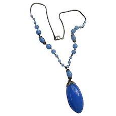 Older Vintage Blue Glass Necklace