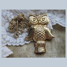 Vintage Bergere Whistling Owl Pendant Necklace