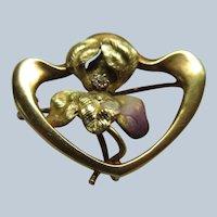 Antique 10K Art Nouveau Iris Pin