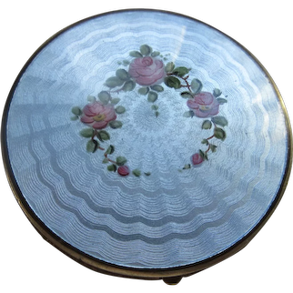 Vintage Guilloche Enameled Compact
