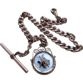 Antique Pocket Watch Chain Masonic Square Compass Flag Insignia Fob