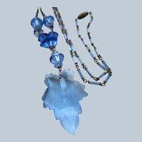 Vintage Blue Crystal Necklace Circa 1940