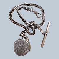 Victorian Antique Pocket Watch Chain with Locket Fob