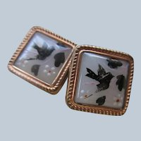 Victorian Hand Painted Buttons Birds