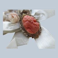 Antique 10K Carved Coral Pin Pendant