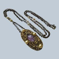 Older Vintage Art Glass Star Sapphire Necklace