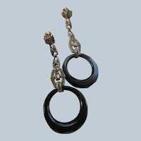 Art Deco Era Sterling Hoop Drop Pierced Earrings