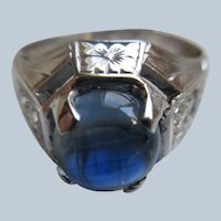 Vintage Deco 20 K White Gold Ring 2Ct Natural Sapphire