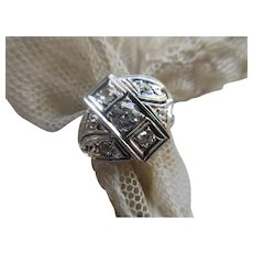 Vintage 14K White Gold Diamond Ring circa 1950