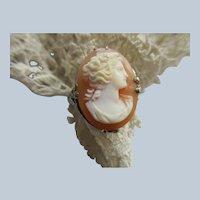Vintage 10K White Gold Filigree Carved Cameo Ring