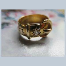 Antique English Diamond Buckle Ring