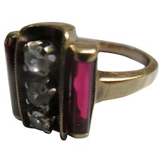 Vintage Deco 10K Synthetic Ruby Paste Ring