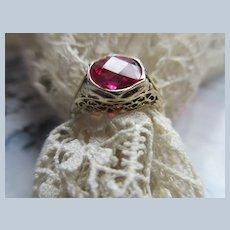 Older Vintage 10K Synthetic Ruby Ring