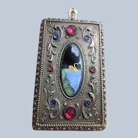 Older Vintage Evans Nickel Silver Jeweled Compact Enameled Swan Scene