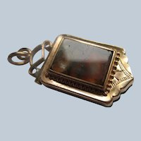 Antique Victorian Agate Locket Fob in Gold Fill