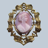 Victorian Pink Glass Cameo