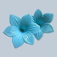 Older Vintage Molded Blue Glass Flowers for Sconces Tie Backs