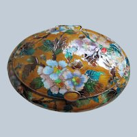 Korean Pure 999 Silver and Cloisonné Enamel  Floral Presentation Box