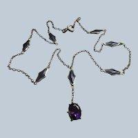 Antique 10K Enameled Amethyst Necklace
