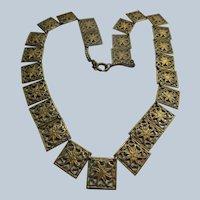 Older Vintage Brass Filigree Necklace