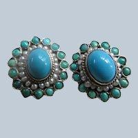 Vintage Silver Turquoise Seed Pearl Pierced Earrings