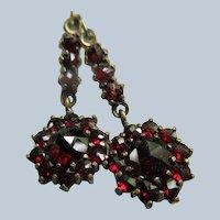 Victorian Antique Bohemian Garnet Pierced Earrings