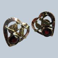 Vintage 10K Heart Bird Pierced Earrings