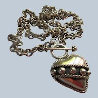 Vintage Sterling Silver Mexican Heart Necklace