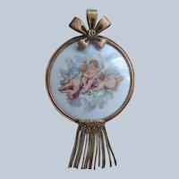 Older Vintage French Porcelain Cherubs Plaque