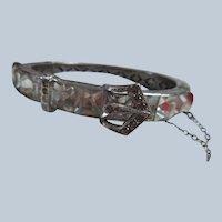 Deco 20s 30s Vintage Channel Set Crystal Buckle Bracelet