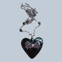 Vintage Sterling Silver Carved Onyx Heart Necklace