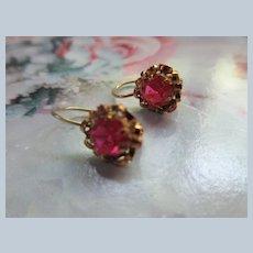 Older Vintage 10K Synthetic Stone Pierced Earrings