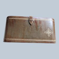 Vintage Leather Clutch with Compartments
