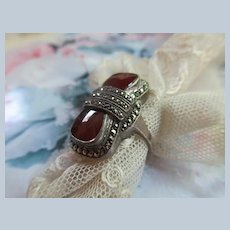 Deco Sterling Carnelian Marcasite Ring