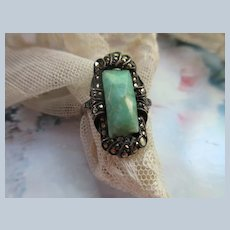 Deco 800 Silver Green Stone Marcasite Ring