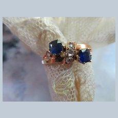 Antique Victorian 15KT Sapphire Rose Cut Diamond Ring
