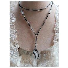 Deco Opera Length Long Glass Necklace