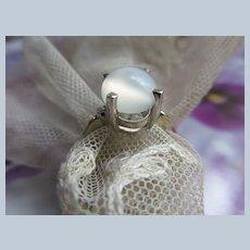 Vintage 14K White Gold Moonstone and Diamond Ring