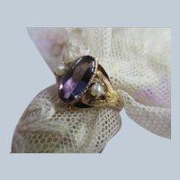 Antique 10K Amethyst Seed Pearl Ring