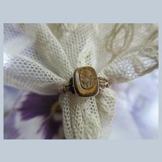 Antique 10K Carved Stone Cameo Ring