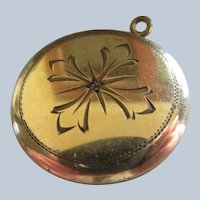 Antique Etched Locket Rose Cut Diamond in Gold Fill
