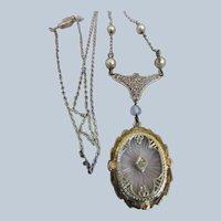 Vintage Deco 10K Filigree Camphor Glass Necklace