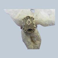 Deco Vintage 14K White Gold Filigree Camphor Glass Ring